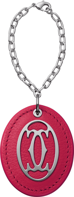C de Cartier collection colored key ring Fuchsia pink leather, metal, polished palladium finish, chain