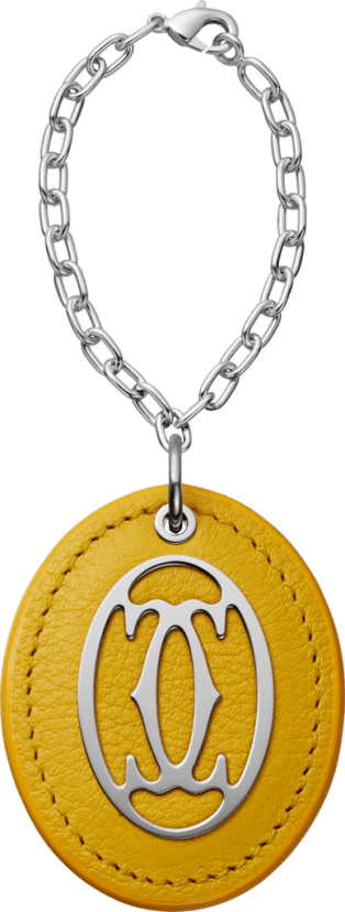 C de Cartier collection colored key ring Yellow leather, metal, polished palladium finish, chain