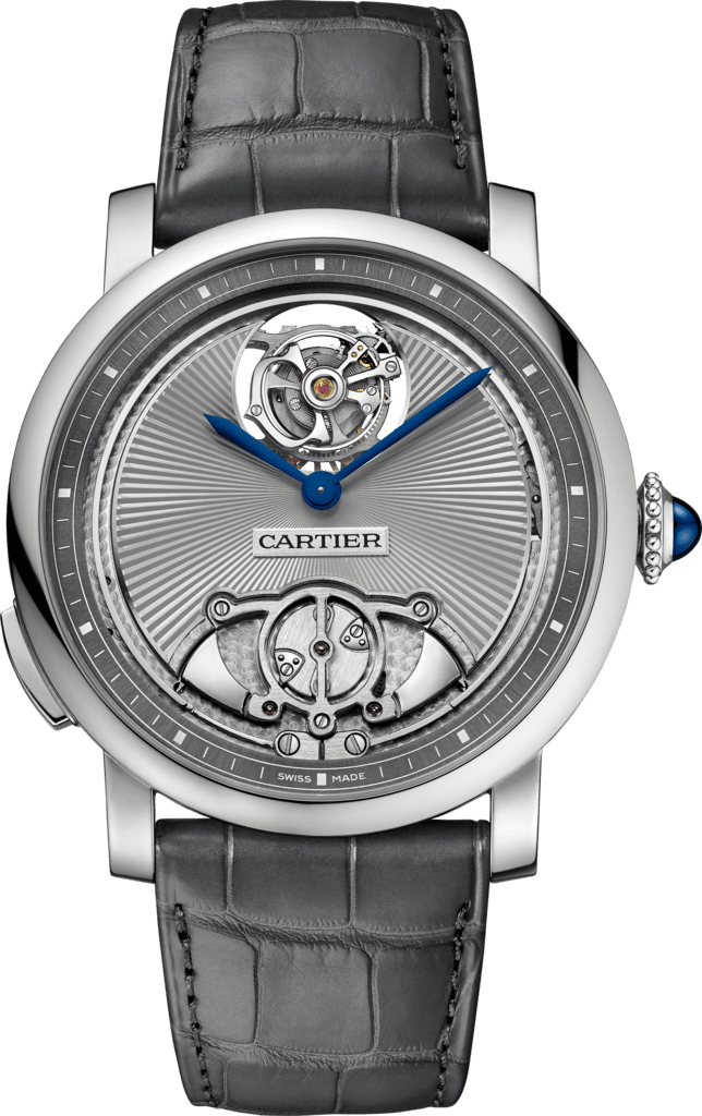 Rotonde de Cartier watch45 mm, manual, titanium, leather