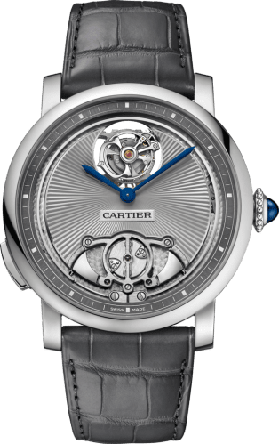 Rotonde de Cartier watch 45 mm, manual, titanium, leather