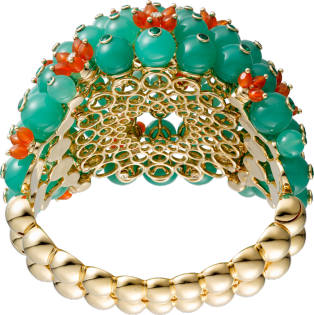 Cactus de Cartier bracelet Yellow gold, emeralds, chrysoprases, carnelians, diamonds