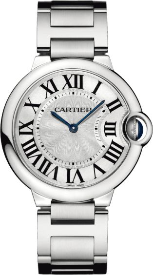 Ballon Bleu de Cartier watch 36mm, quartz movement, steel