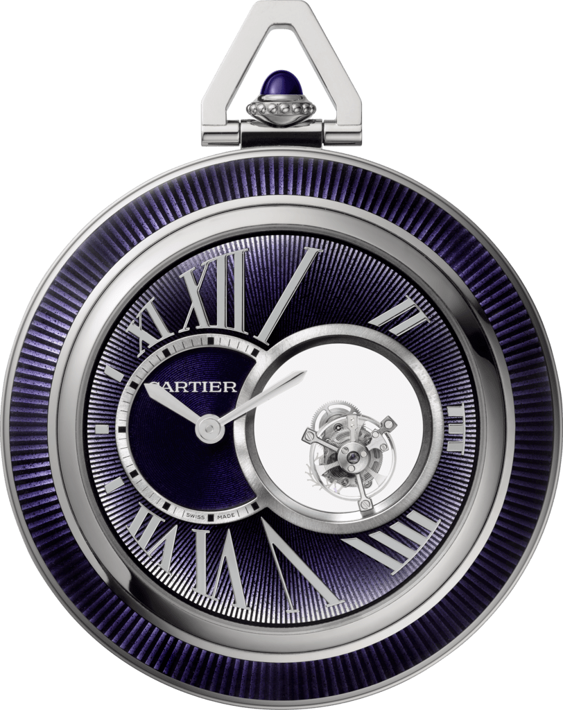Cartier Mysterious Double Tourbillon pocket watch55 mm, manual, 18K white gold