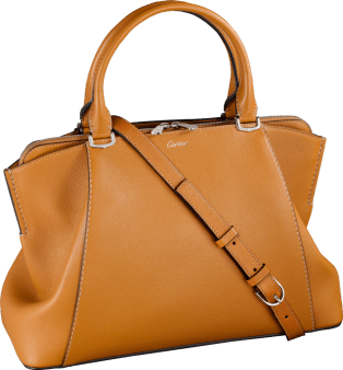 C de Cartier bag, small model Imperial topaz-colored taurillon leather, palladium finish