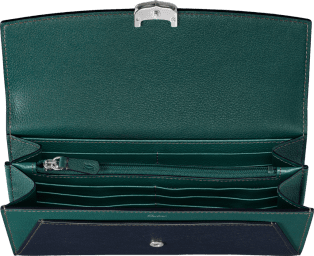 Small Leather Goods C de Cartier, international wallet Tanzanite and jade taurillon leather, palladium finish