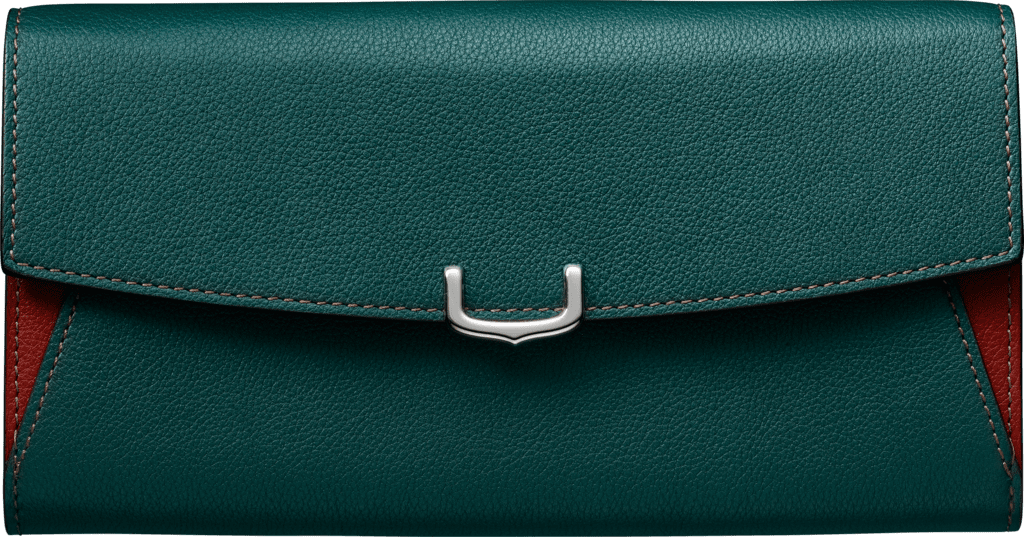 Small Leather Goods C de Cartier, international walletJade and carnelian taurillon leather, palladium finish
