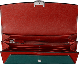 Small Leather Goods C de Cartier, international wallet Jade and carnelian taurillon leather, palladium finish