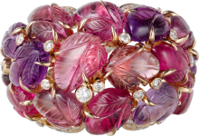Ring with engraved stones Rose gold, rubellites, garnets, amethysts, onyx, diamonds
