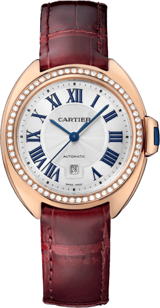 Clé de Cartier watch 31 mm, 18K pink gold, leather, diamonds
