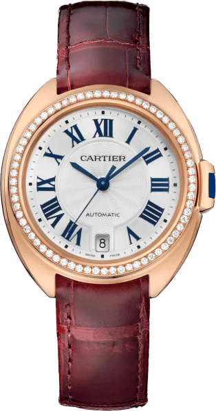 Clé de Cartier watch 35 mm, 18K pink gold, leather, diamonds