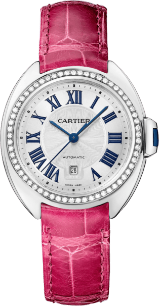 Clé de Cartier watch 35 mm, rhodiumized 18K white gold, leather, diamonds