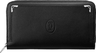 Zipped International Wallet, Must de Cartier Black calfskin, palladium finish