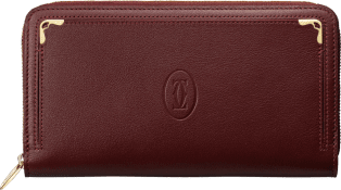 Small Leather Goods Must de Cartier, zipped international wallet Burgundy calfskin, golden finish