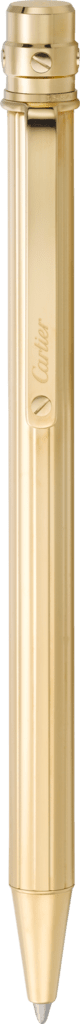 Santos de Cartier ballpoint pen Small model, engraved metal, gold finish