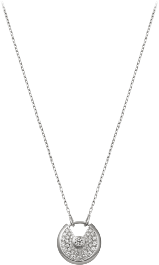 Amulette de Cartier necklace, small model White gold, diamonds