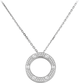 <span class='lovefont'>A </span> necklace, diamond-paved White gold, diamonds
