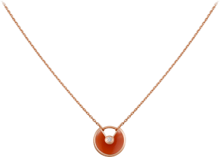 Amulette de Cartier necklace, XS model Pink gold, carnelian, diamond