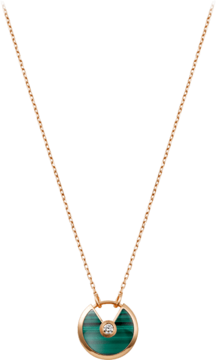Amulette de Cartier necklace, small model Pink gold, malachite, diamond