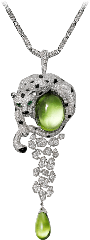 Panthère de Cartier High Jewelry necklaceWhite gold, peridots, onyx, emeralds, diamonds