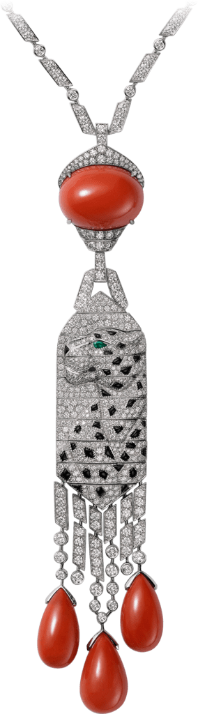 Panthère de Cartier High Jewelry necklace Platinum, coral, onyx, emeralds, diamonds