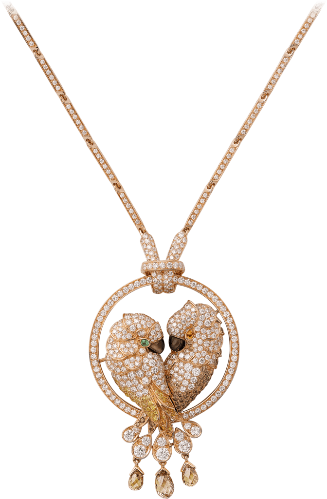 Les Oiseaux Libérés necklacePink gold, tsavorite garnet, spessartite garnet, mother-of-pearl, brown diamonds, yellow diamonds, orange diamonds, diamonds