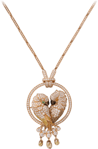 Les Oiseaux Libérés necklace Pink gold, tsavorite garnet, spessartite garnet, mother-of-pearl, brown diamonds, yellow diamonds, orange diamonds, diamonds