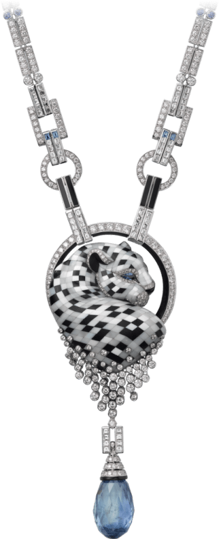 Panthère de Cartier High Jewelry necklace Platinum, sapphires, agate, onyx, diamonds