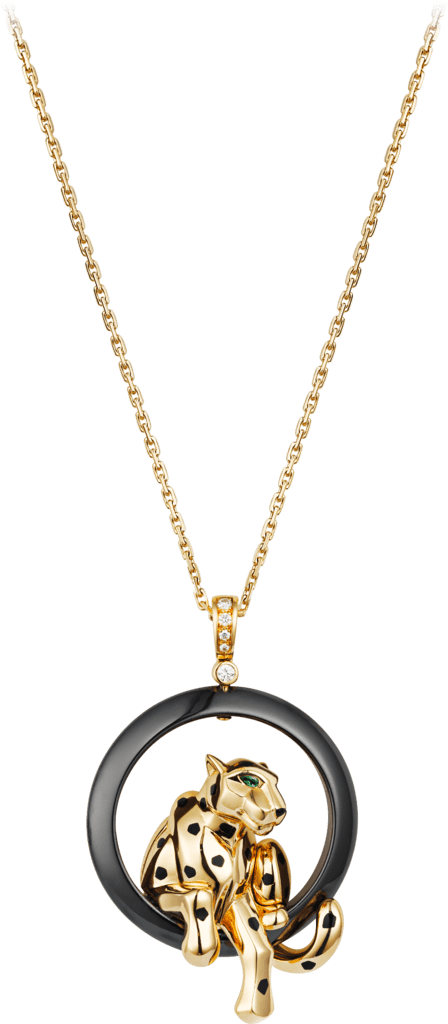 Panthère de Cartier necklaceYellow gold, ceramic, lacquer, tsavorite garnet, diamonds