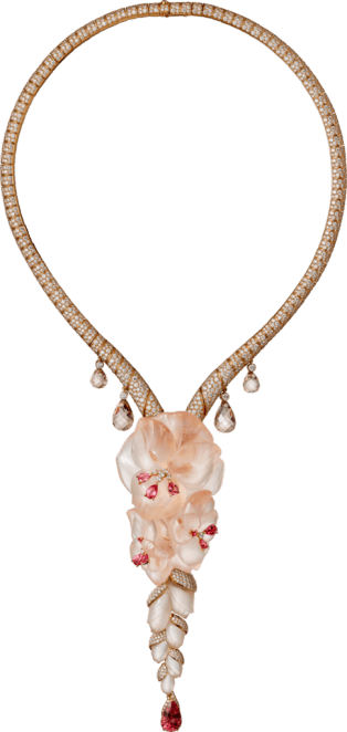 High Jewelry necklace Pink gold, morganite, spinels, diamonds