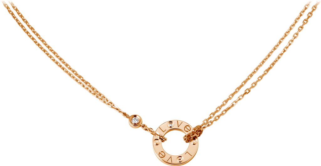 Love necklace, 2 diamondsPink gold, diamonds