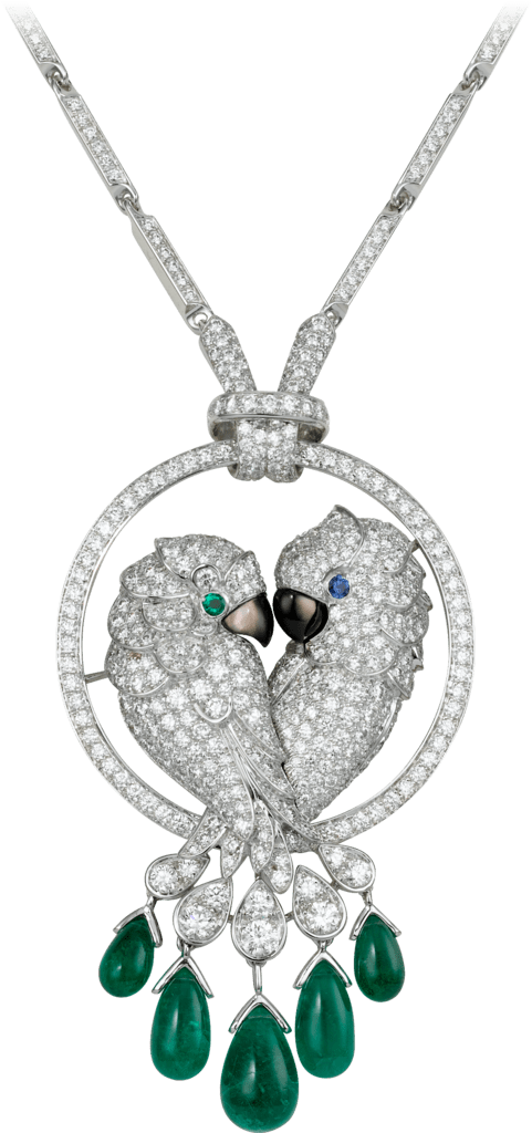 Les Oiseaux Libérés necklaceWhite gold, emeralds, sapphire, mother-of-pearl, diamonds