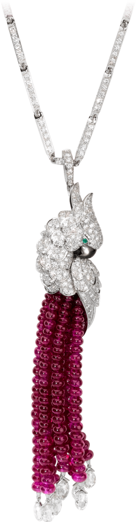 Les Oiseaux Libérés necklace White gold, rubies, emeralds, mother-of-pearl, diamonds