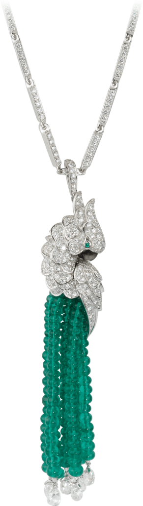 Les Oiseaux Libérés necklaceWhite gold, emeralds, mother-of-pearl, diamonds