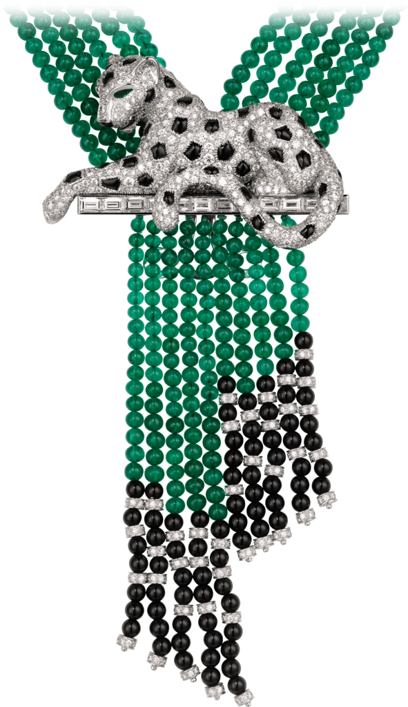 Panthère de Cartier High Jewelry necklacePlatinum, emeralds, onyx, diamonds