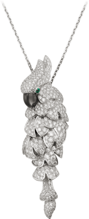 Les Oiseaux Libérés necklace White gold, emeralds, mother-of-pearl, diamonds