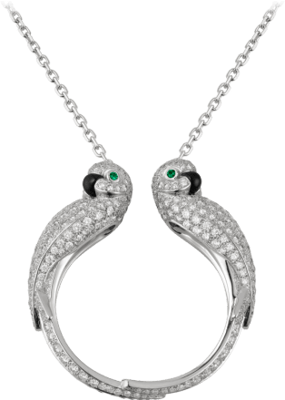 Les Oiseaux Libérés necklace White gold, diamonds, emeralds, onyx