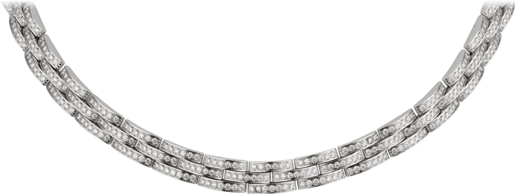Maillon Panthère thin necklace, 3 diamond-paved rowsWhite gold, diamonds