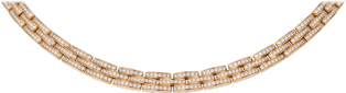 Maillon Panthère thin necklace, 3 diamond-paved rows Pink gold, diamonds