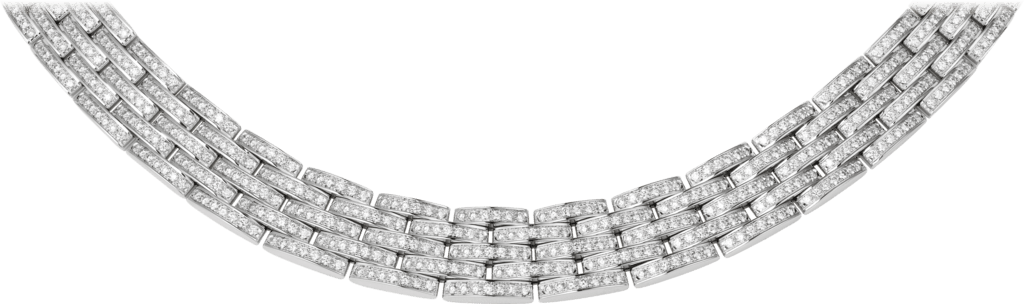 Maillon Panthère thin necklace, 5 diamond-paved rowsWhite gold, diamonds