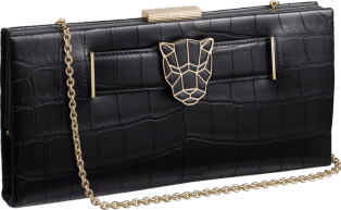 Panthère de Cartier clutch bag Black crocodile skin, gold finish