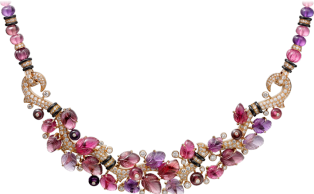 Necklace with engraved stones Pink gold, rubellites, amethysts, garnets, onyx, diamonds