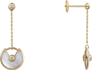 Amulette de Cartier earrings, XS model Yellow gold, white mother-of-pearl, diamonds