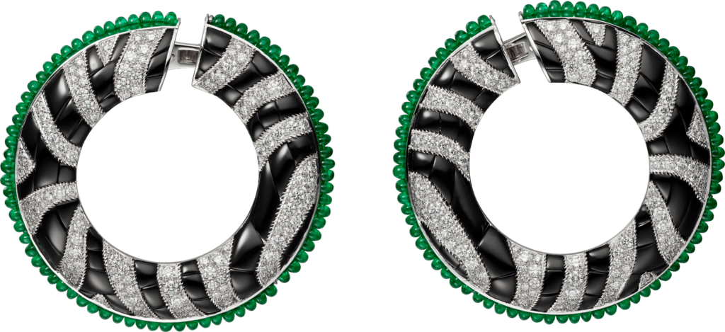 High Jewelry earringsWhite gold, emeralds, onyx, diamonds