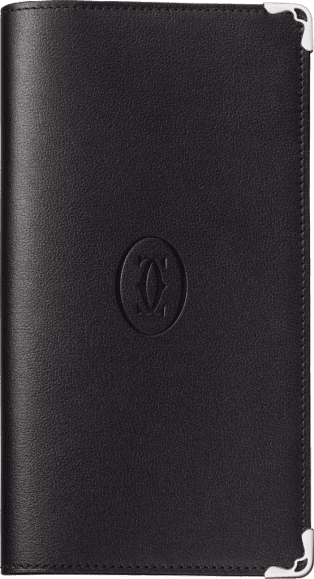 Must de Cartier Small Leather Goods, pocket diary, large model Black calfskin, palladium finish
