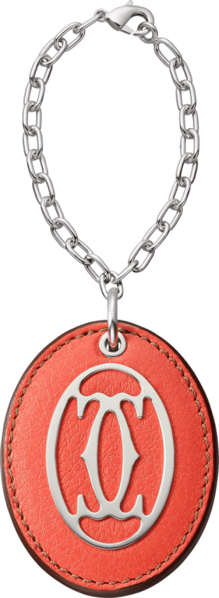 C de Cartier key ring Coral-colored leather, metal, polished palladium finish, chain