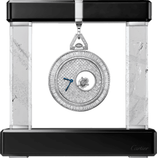 Cartier Mysterious Double Tourbillon pocket watch 55 mm, manual, platinum, diamonds