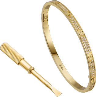 Love bracelet, small model, pavé Yellow gold, diamonds