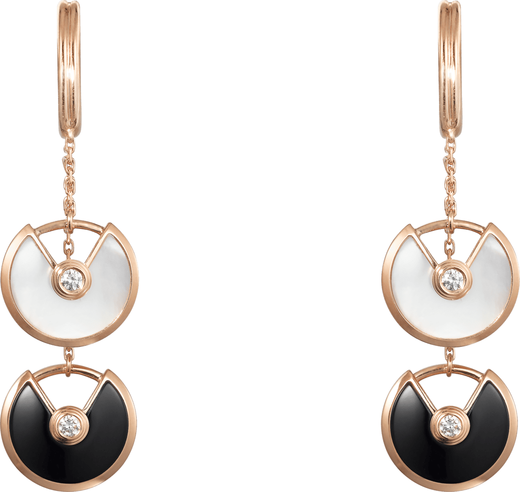 Amulette de Cartier earrings, XS modelPink gold, onyx, white mother-of-pearl, diamond