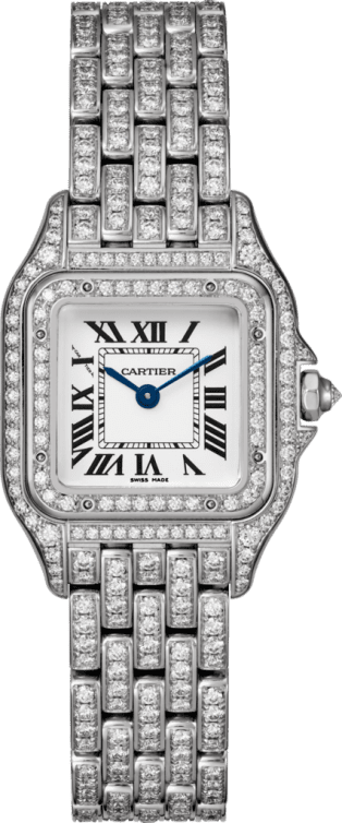 Panthère de Cartier watch Small model, 18K white gold, diamonds
