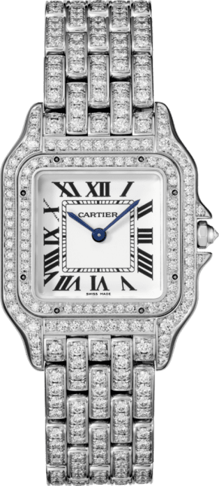 Panthère de Cartier watch Medium model, 18K white gold, diamonds